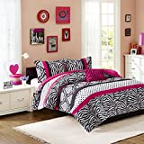 Mi Zone Reagan Teen Girls Duvet Cover Set Full/Queen Size - Pink, Zebra Polka Dot – 4 Piece Duvet Covers Bedding Sets – Ultra Soft Microfiber Girls Bedding Bed Sets