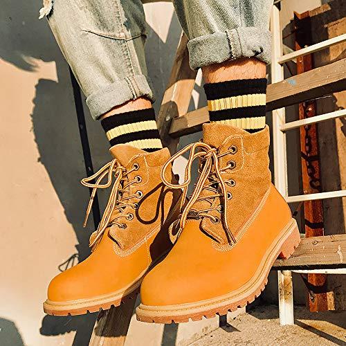 LOVDRAM Stiefel Männer Herbst Wild Martin Stiefel Herren High-Cut Werkzeug Stiefel Desert Stiefel Paar Pu Gelb Stiefel Herrenschuhe