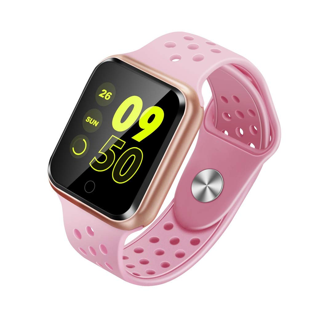 YNAA for Android iOS, Breathable Sport Smart Watch, Health Blood Pressure Heart Rate Monitor Pedometer Tracker Smart Bracelet (Pink)