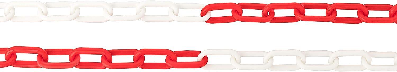 Cadena de plástico de 3 m, 5 m, 10 m, 25 m, color rojo y blanco, se vende por metros, para barreras, limitaciones, vallas, barrera de aparcamiento, bloqueo de entrada, longitud a elegir