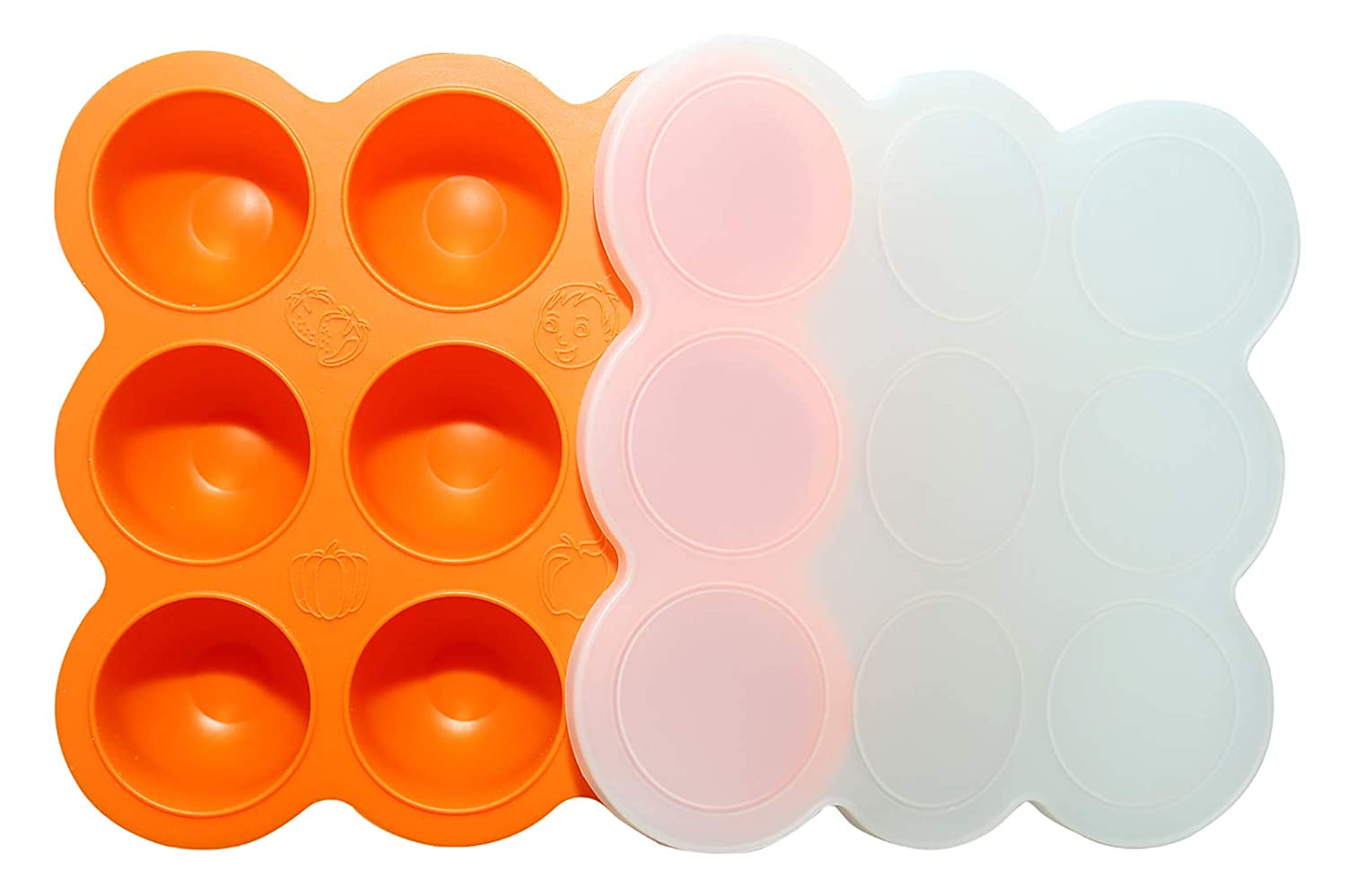 Silicone Baby Food Storage Containers, Freezer Trays with Lids for Snacks, Vegetable & Fruit Purees Storage, 100% Food-Grade Silicone, BPA Free, Microwave & Dishwasher Safe