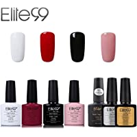 Elite99 Vernis Semi permanent Vernis à Ongles Gel UV LED Soakoff 7pcs Kit Manicure Pour Ongle avec Base Coat, Top Coat Brillant, Top Coat Mat 7.3ml - Kit001