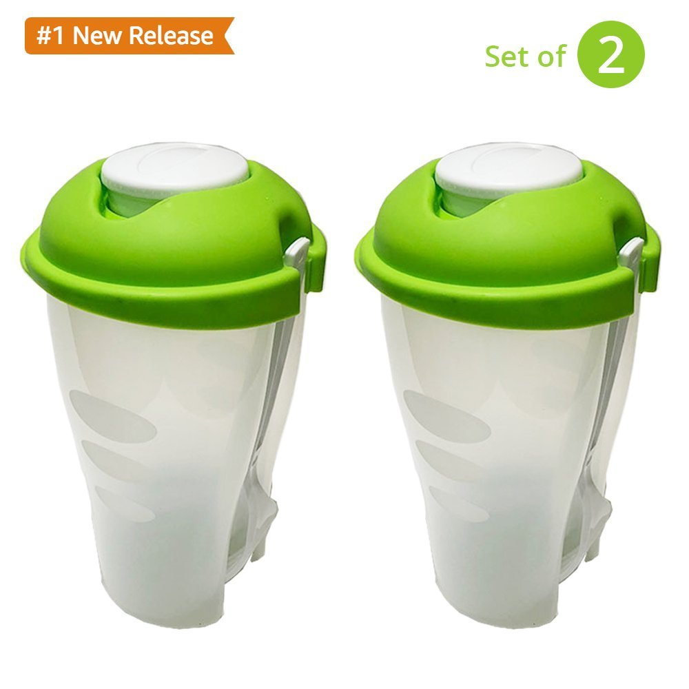 Grillware Fresh Salad shaker Cup With Dressing Container and Fork - (Set of 2)