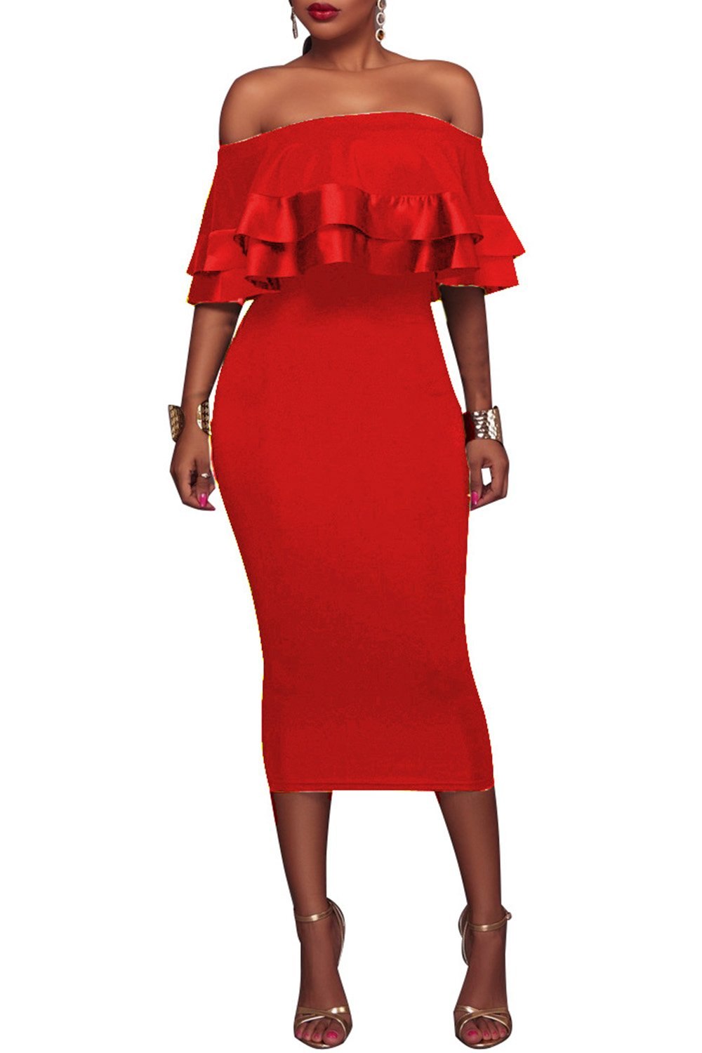 9a22e84b02ef6 Wonderoy Women s Ruffles Off Shoulder Fitted Club Party Cocktail Bodycon  Midi Dress L Red   Departments   Clothing