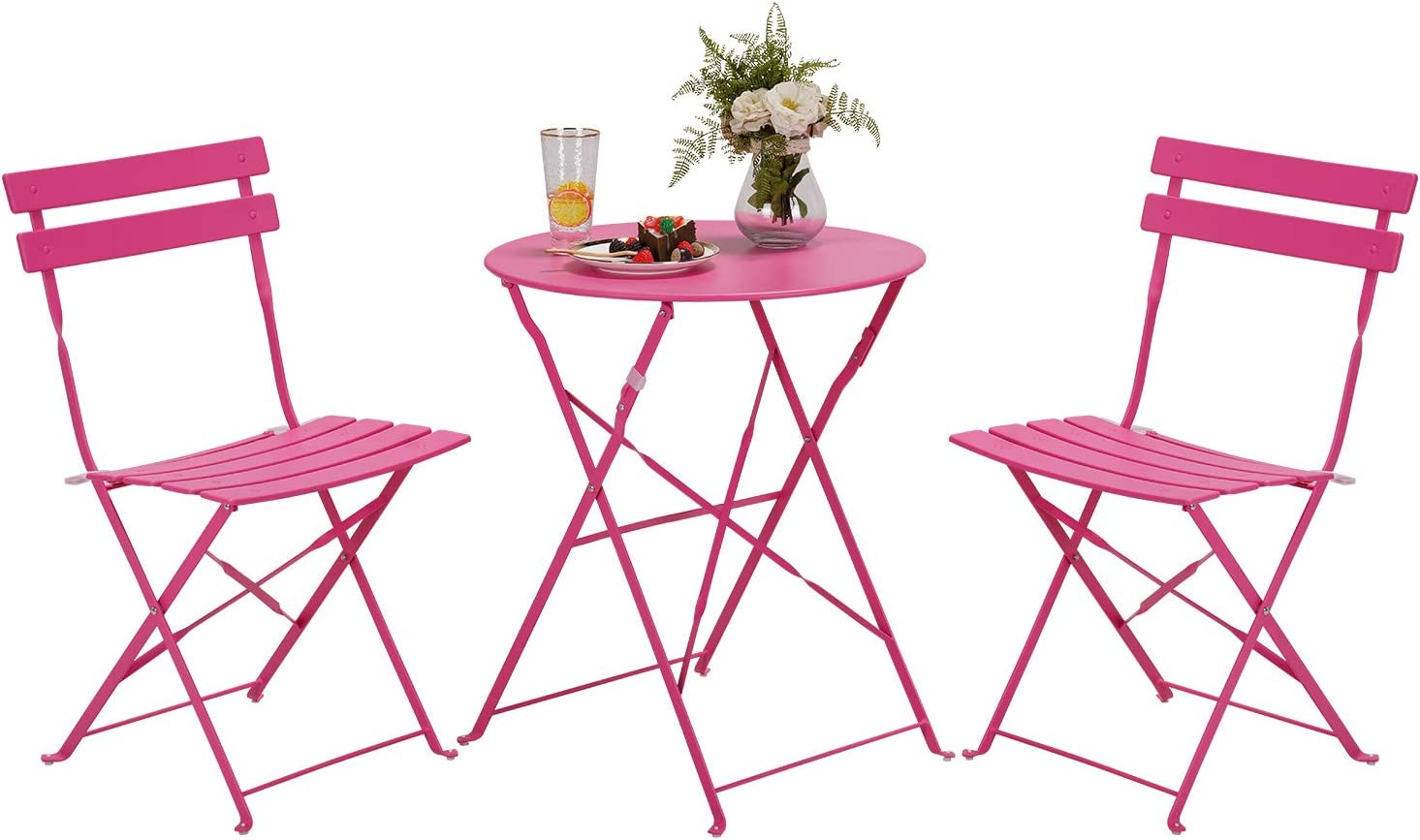 Grand patio Premium Steel Patio Bistro Set, Folding Outdoor Patio Furniture Sets, 3 Piece Patio Set of Foldable Patio Table and Chairs, Pink