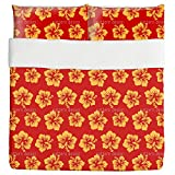 Hibiscus Greetings From Hawaii Duvet Bed Set 3 Piece Set Duvet Cover - 2 Pillow Shams - Luxury Microfiber, Soft, Breathable