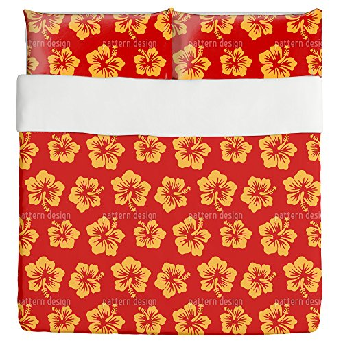 Hibiscus Greetings From Hawaii Duvet Bed Set 3 Piece Set Duvet Cover - 2 Pillow Shams - Luxury Microfiber, Soft, Breathable by uneekee