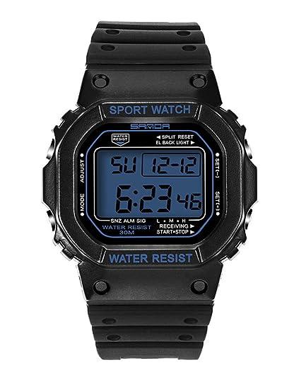 De luz de fondo LED Digital reloj deportivo jóvenes Casual par relojes niñas negro + azul