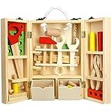 Boîte à Outils en Bois Coffret Portable à Outils Jeu d'imitation DIY Bricolage de Charpentier pour Enfants (36 Pcs)