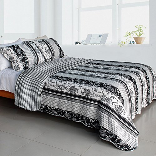 [Black and White Floral Vine] Cotton 3PC Vermicelli-Quilted Printed Quilt Set (Full/Queen Size) from BLANCHO BEDDING