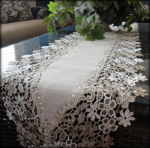 Sophisticated Floral Lace Dresser Scarf 65