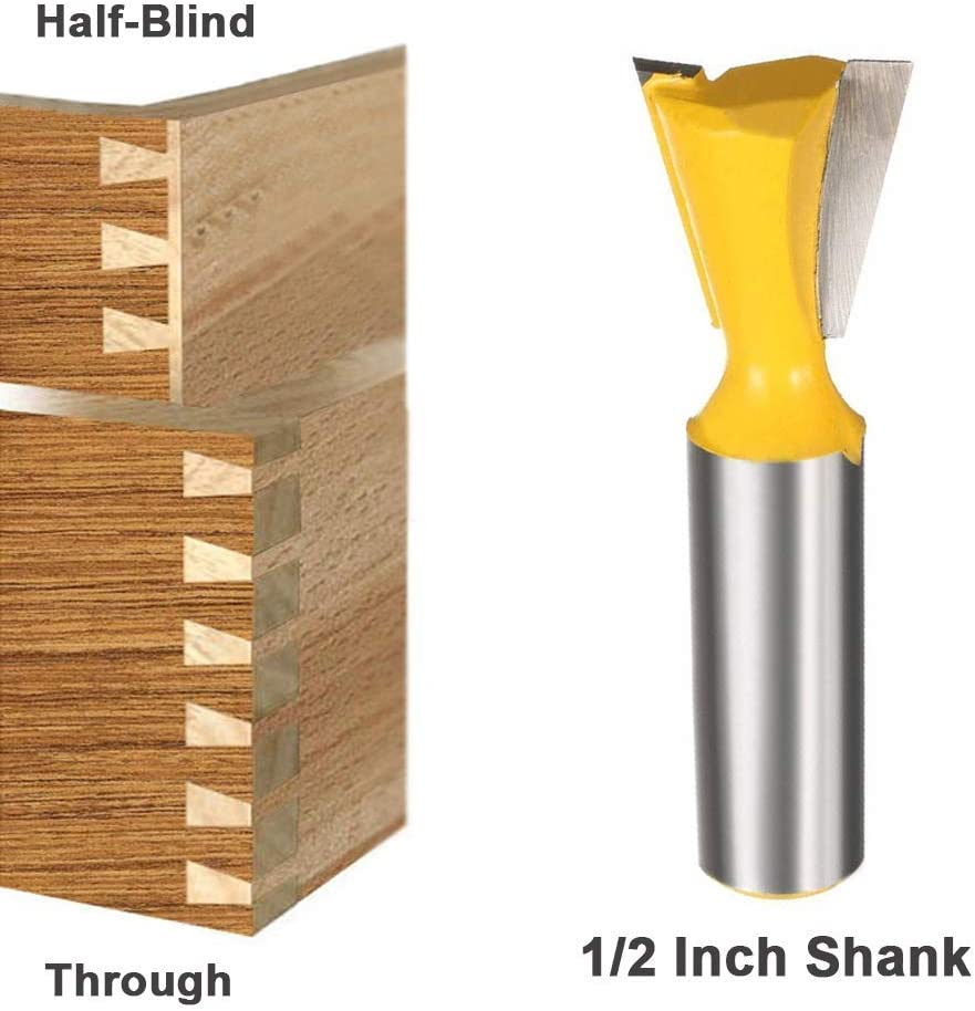 Y-luck 5 Pieces 1//2 Shank Dovetail Router Bit,Beautiful Dovetail Joints for the Construction of Boxes Drawers Chests and Fine Casework in Woodworking