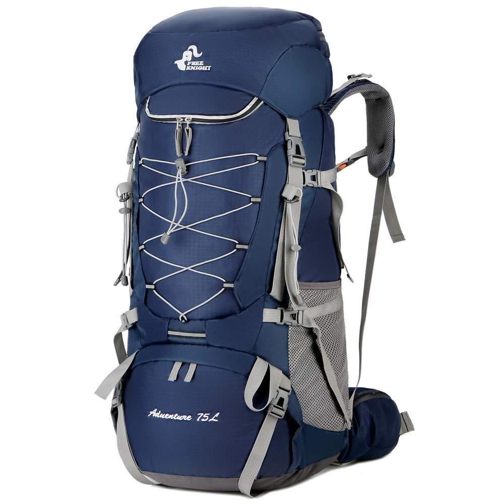 Camping Backpack, YiMiky Hiking Backpack 75L Large Capacity Water Resistant Travel Backpack Climb Daypack with Rain Cover Camping Trekking Packs for Outdoor Sport Touring - Blue