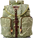 Olive Drab Vintage Stone Washed Military Backpack with Leather Accents
