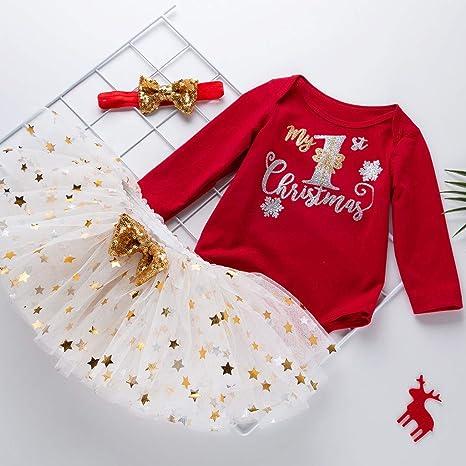 Allence 2Pcs Baby M/ädchen Kleidung Set Weihnachten Outfits Strampler mit R/öckchen und Stirnband Weihnachtskost/üm Mein erstes Weihnachten