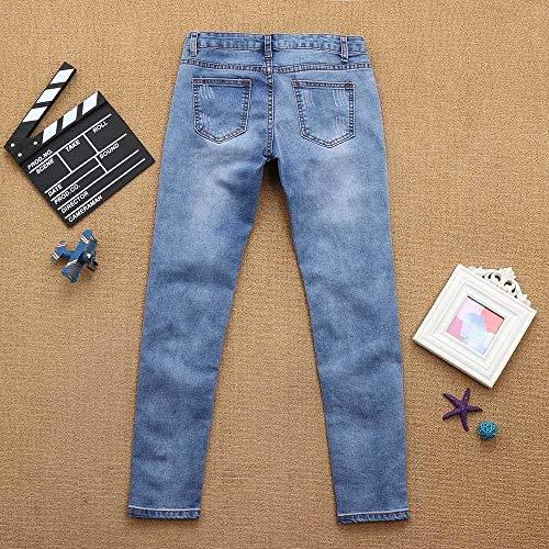 Casuales Agujero Decoración Jeans Largo Clubwear Elástico Pantalón Destruido Moda Mujer Vaquero Mezclilla Lápiz Mujeres Perla Rasgado Pantalones Blau Para De Ajustados nBqvP