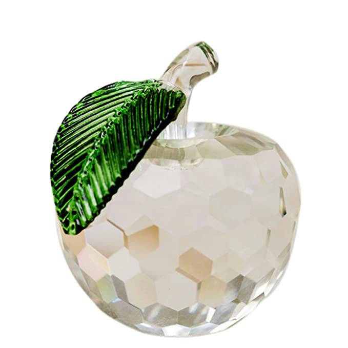 0beb559148e81 JINGDIAN Crystal Home Decoration Apple (White)
