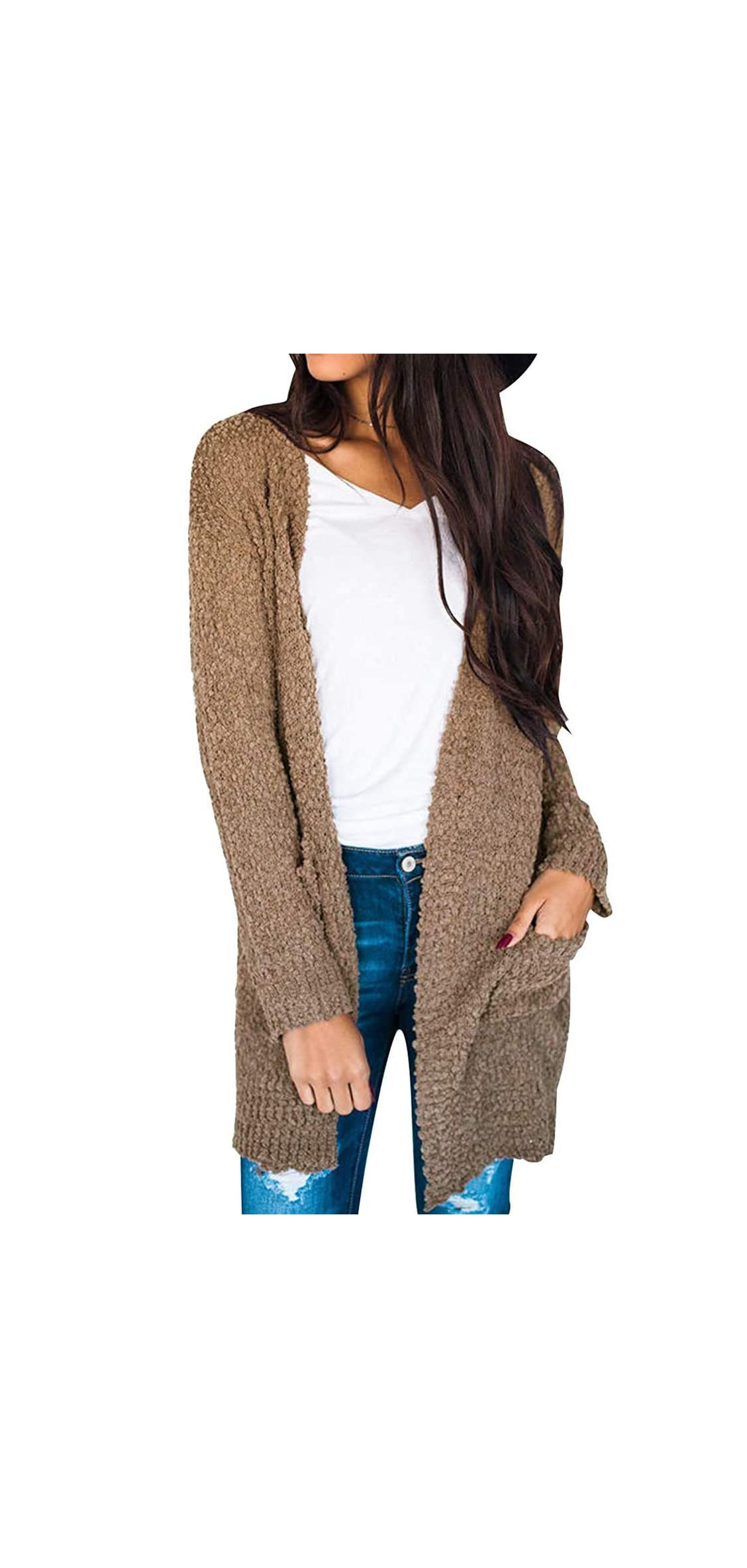 Women's Casual Long Sleeve Open Front Soft Chunky Knit