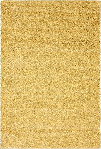 (Unique Loom Solo Collection Solid Plush Kids Yellow Area Rug (5' 0 x 7' 7) )