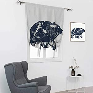 GugeABC Cabin Decor Blackout Curtains, Bear Double Exposure Tattoo Art Image Great Outdoors Mountains Compass Tie Up Drapes, Dark Blue White, 48