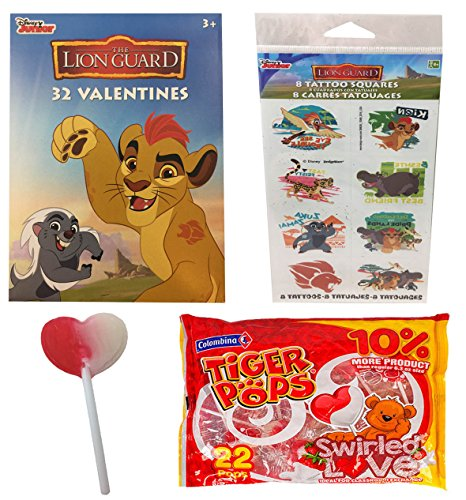 The Lion Guard 32 Valentines Cards With 22 Heart Swirl Lollipops and 8 Tattoos for Classroom - Grocery Outlet Gift Card