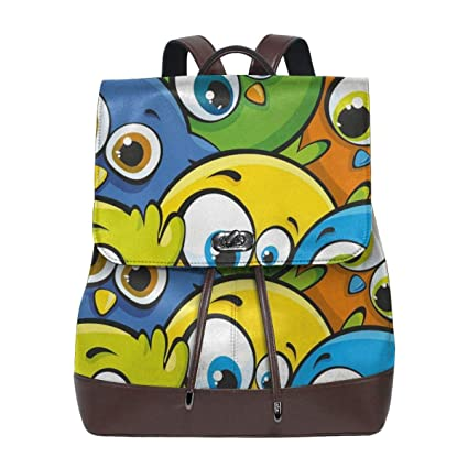 Womens Leather Backpack,Cartoon Fat Chubby Birds Baby Kids ...