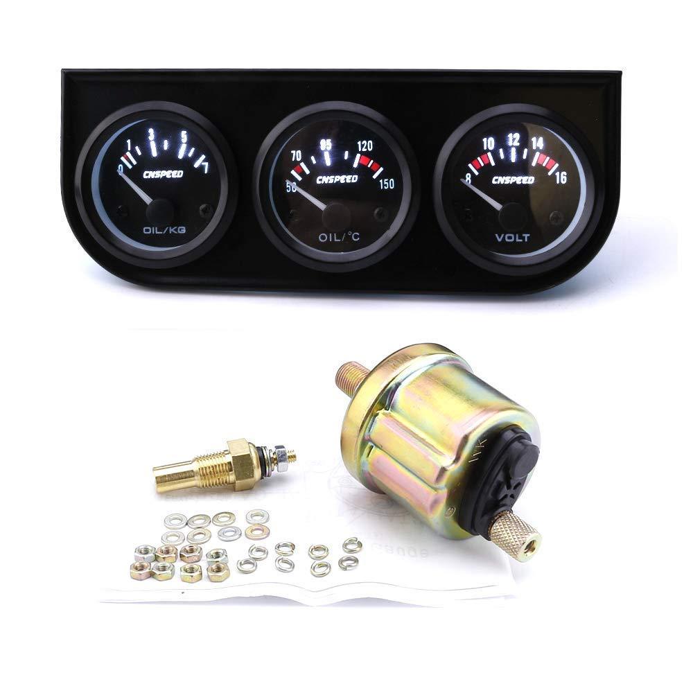 CNSPEED 2 52MM LED Triple voltímetro / Temperatura del aceite / Indicador de presión de aceite: Amazon.es: Coche y moto