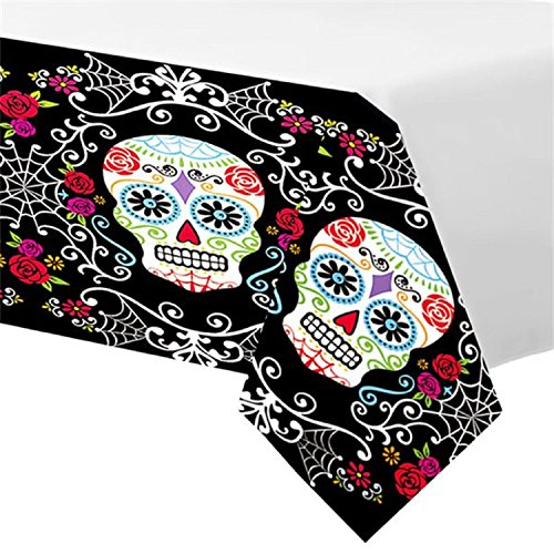 (Fancy Me Day of The Dead Sugar Skull Mexican Halloween Party Tablecover Celebration Tableware Decorations Accessories)