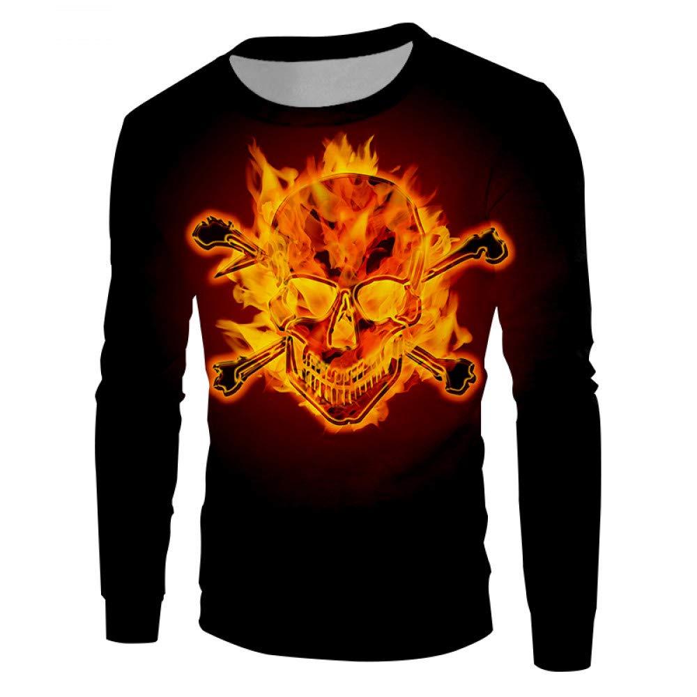 Ai Ya-weiyi 3D-Persönlichkeit Trend Flamme Schädel Herren Pullover Printes Hip Hop Trainingsanzug Unisex
