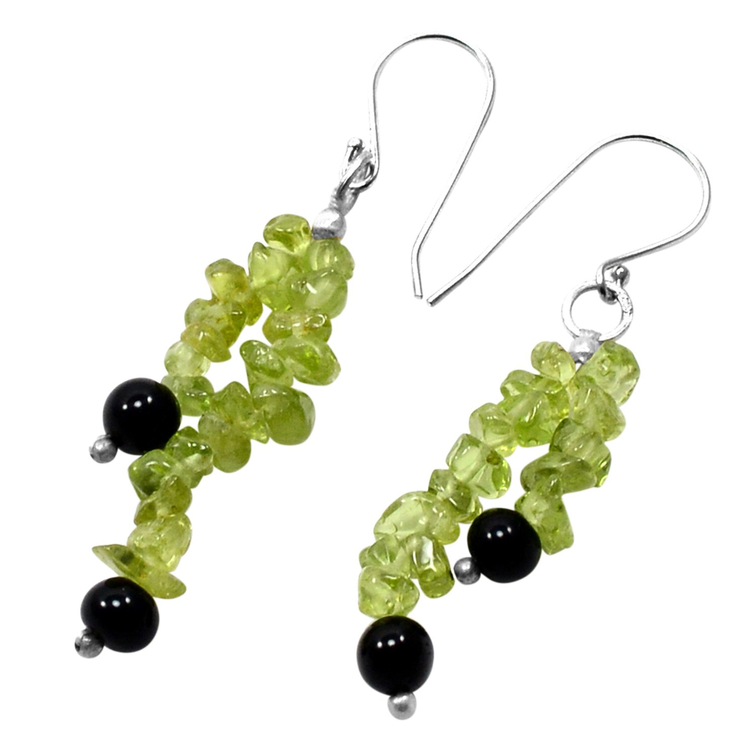 Handmade Jewelry Manufacturer Round Bead Black Onyx 925 Sterling Silver 2-Layer Earring Jaipur Rajasthan India Chips Peridot