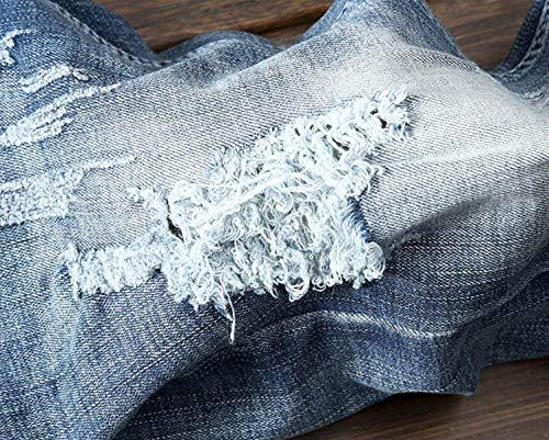 Di Fit Vita Senza Con Denim Strappati Vintage Stravaganti Pantaloni In Da Vestibilità Media Mode Marca Jeans Blu Uomo A Micro Casual Cinturino Slim wPHXRS