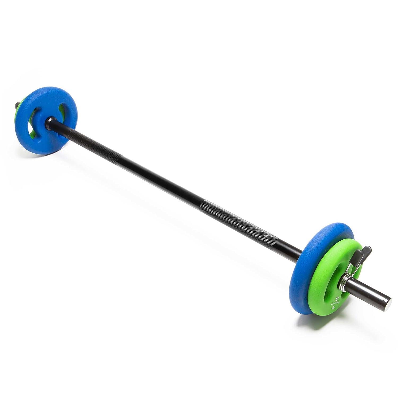 Barra larga para pesas con cierre de pinza + discos / 2 kg 4 kg 6 kg 8 kg 10 kg 12 kg 14 kg 18 kg 20 kg variantes de peso en ...