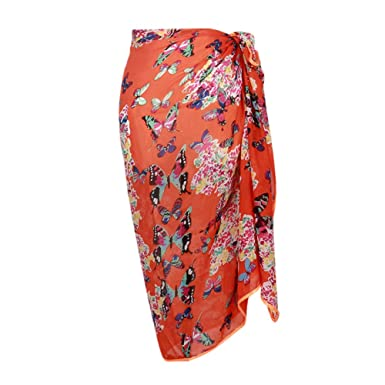 1cc7fea304 Mayfair Cashmere Orange Butterfly Sarong Sarong Pareo Beach Holidays Pool  Swimsuit Ladies Wrap Beachwear Cover up Scarf: Amazon.co.uk: Clothing
