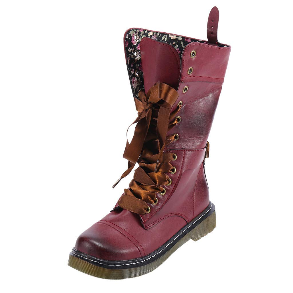 8a45c4a8e8d7e Anglewolf Women's Leather Middle Boot Non-Slip Round Toe Lace-Up ...