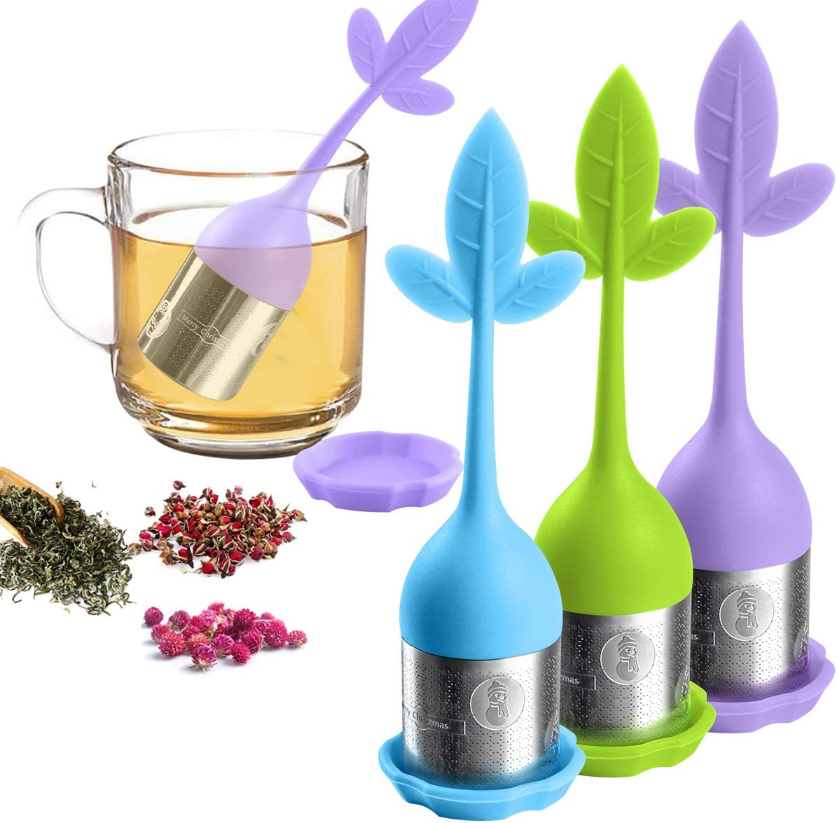 3x Silicone Tea Infuser Loose Floating Leaf Filter Strainer Stainless Steel Ball