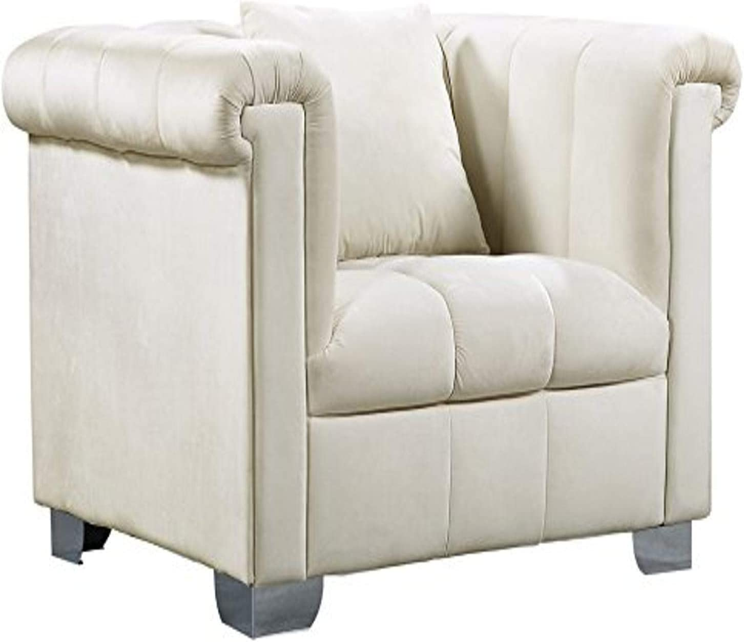 """Meridian Furniture Kayla Collection Modern   Contemporary Deep Channel Tufted Velvet Upholstered Chair with Custom Chrome Legs, 45.5"""" W x 37"""" D x 31"""" H, Cream"""