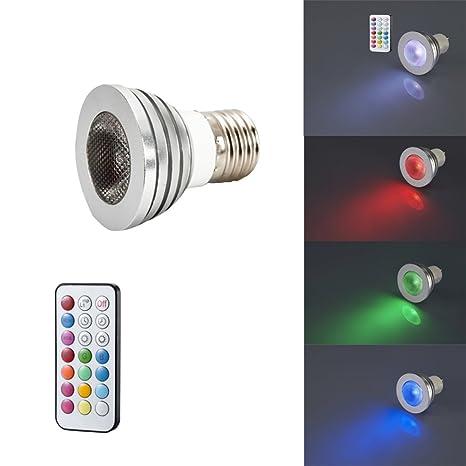 Foco LED RGB bombillas cambia de color Función de Memoria Control Remoto E27
