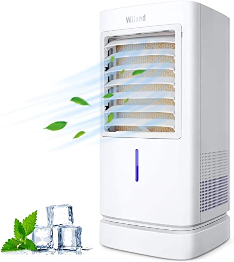 Aire Acondicionado Móvil, Enfriador de Aire Portátil con Cristal de Hielo , Climatizador Evaporativo Silencioso de Bajo Consumo de Energía con Humidificación para ...