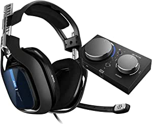 Headset ASTRO Gaming A40 TR + MixAmp Pro TR Gen 4 com Áudio Dolby para PS4, PC, Mac - Preto/Azul