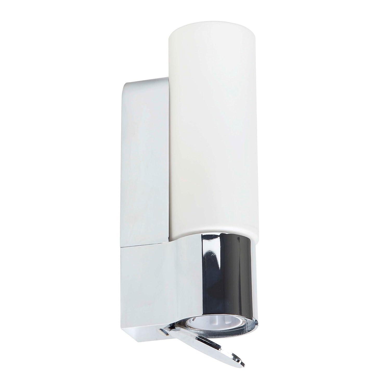 Applique pour salle de bain avec prise intégrée-protection iP 44–fonctionne avec 1 ampoule e14 max. 40 w métal/verre-couleur :  chromé/blanc