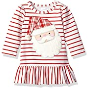 Mud Pie Baby Girls' Christmas Holiday Long Sleeve Casual Play Dress, Santa Flounce, 0-6 MOS