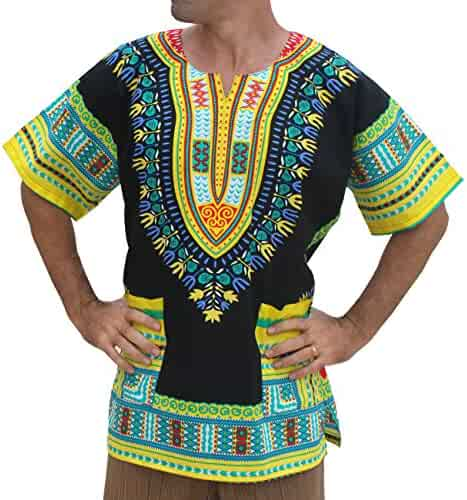 da4736b3760 RaanPahMuang Unisex Bright Africa Black Dashiki Cotton Plus Size Shirt