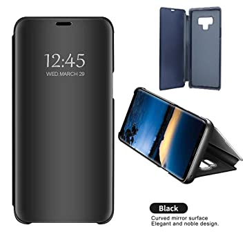 brand new 0d44e d0497 AMPLE Galaxy Note 9 Case, Clear Standing Slim Fit Translucent Mirror Smart  Luxury [Metal Electroplating Technology] [Mirror Flip Folio Case ...
