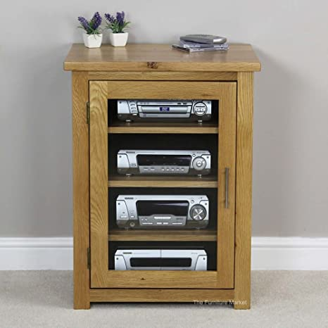 The Furniture Market London Solid Oak Hifi Media Unit: Amazon.co.uk:  Electronics
