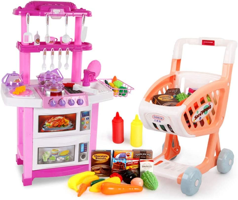 Amazon Com Kitchen Toys Kitchen Playsets Plastic Kitchen Playsets Pretend Play Kids Kitchenware Set 30 Accessories Shopping Cart Simulation Kitchen Gifts Color Pink Size 513680cm Home Kitchen