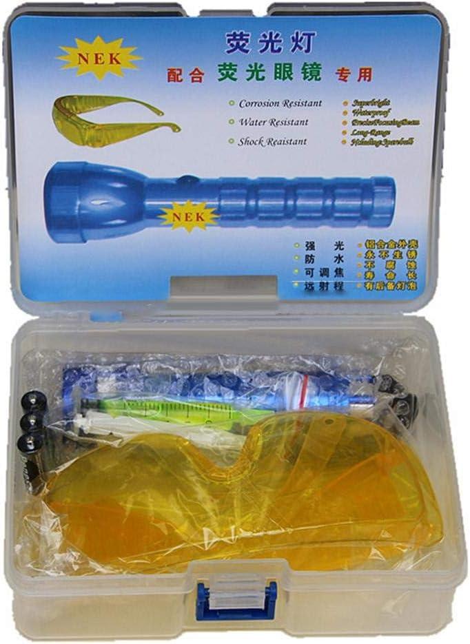 Kit de Pintura UV Aire Acondicionado Herramienta de reparaci/ón de autom/óviles R134A R12 Juego de Herramientas de Aire Acondicionado para detectores de Fugas LED Linterna Gafas de protecci/ón UV