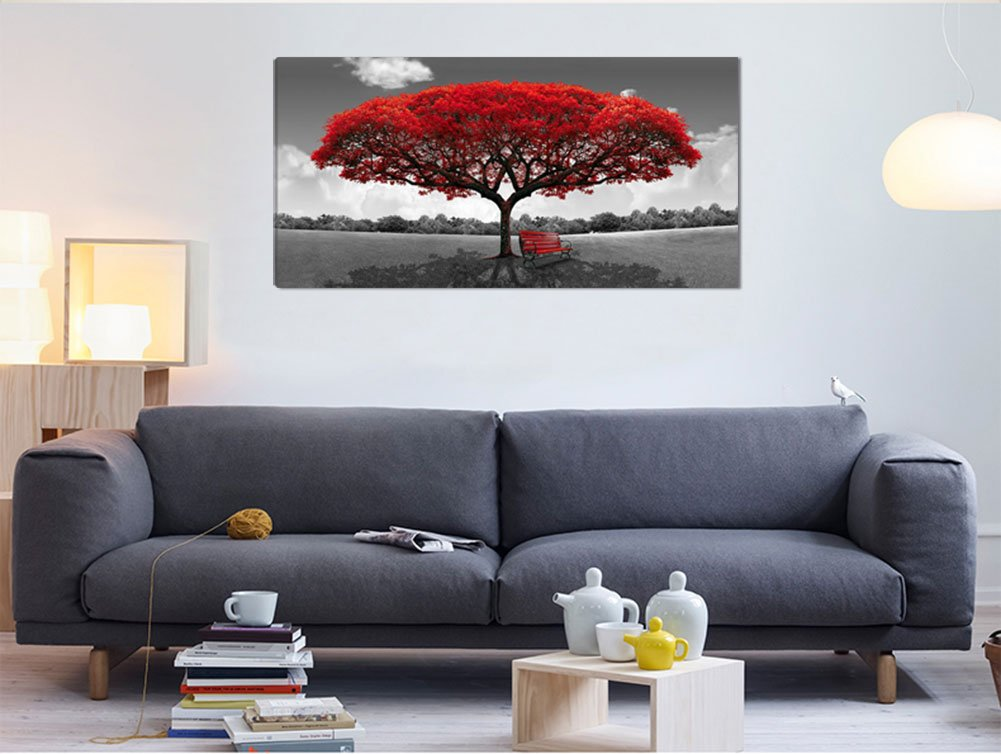 Large Black and White Picture Wall Art Large Framed Canvas Print Red Tree Bench Decor Modern Artwork for Living Room Bedroom Home Decoration by LJZart (Image #3)