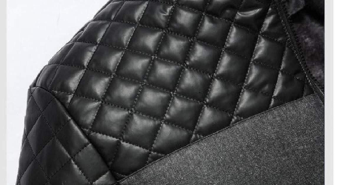 Abetteric Men Leather Stitching Plus Velvet Cotton Stand Collar Outdoor Coat