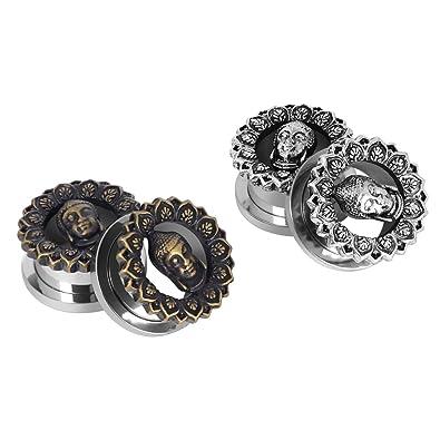 "D&M Jewelry 4 Piezas de Buda 0g-5/8"" Roscado Dilatador de Acero"