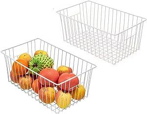 Farmhouse Large Organizer Storage Basket with Handles, Wire Freezer Baskets, Food Storage Bin for Kitchen Cabinets, Pantry, Closet, Bedroom, Bathroom, Office (White)